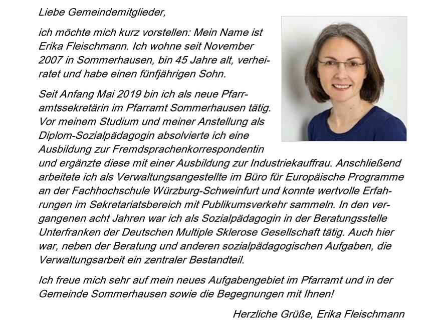 Fleischmann Erika die neue Pfarramtssekretärin stellt sich vor